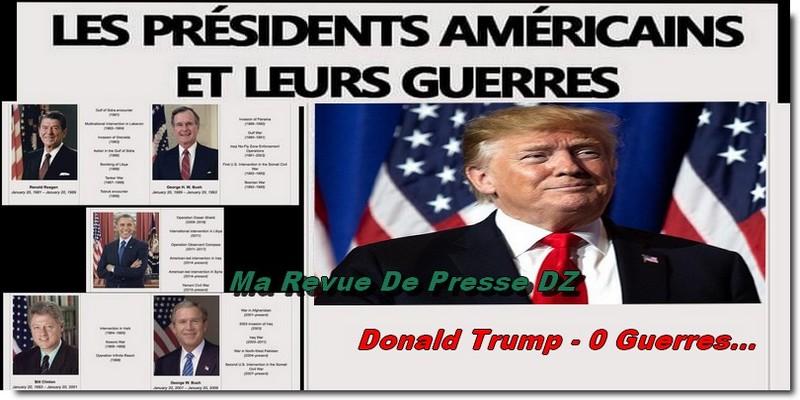 """Sur les 6 derniers Présidents, c'est le seul à ne pas avoir eu sa guerre !""""  : Trump quitte la maison blanche… – Ma Revue De Presse DZ"""