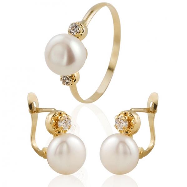 conjuntos pendientes y anillo comunion perla - joyeria marga mira