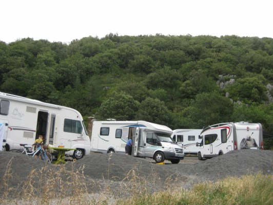 The day before, passing through Quillan, we passed whole communities of camper vans holed up in prime spots for watching the race.