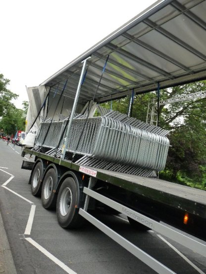 Another delivery of crowd barriers,