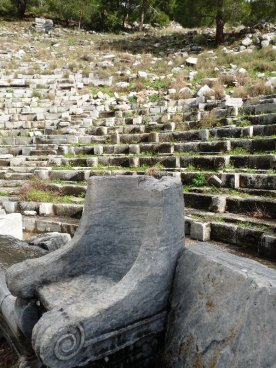 A view of the theatre complete with marble throne.
