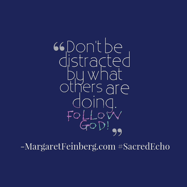 Don't be distracted by what others are doing. Follow God! #SacredEcho -@MaFeinberg