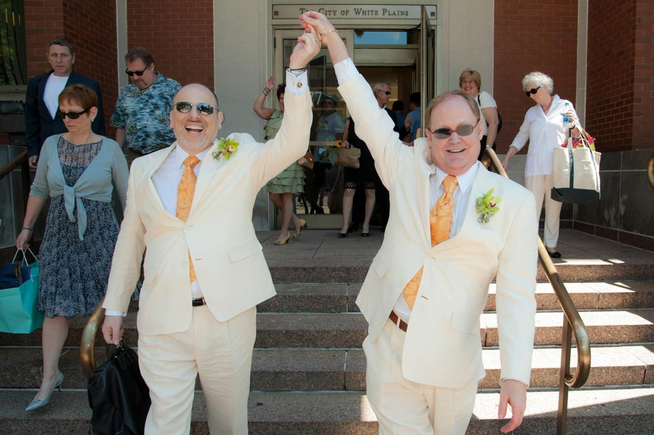 First gay wedding in White Plains courthouse.