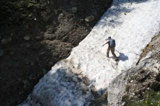 Margaret hiking across ice for her grad student.
