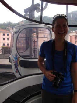 Ashley riding the tram up the mountain to a field site.