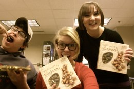 Nick, Jenna, & Erin with their chocolatey invertebrate gifts.