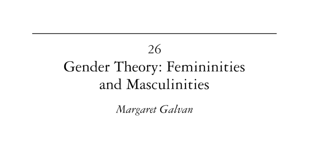 Article: Gender Theory: Femininities and Masculinities