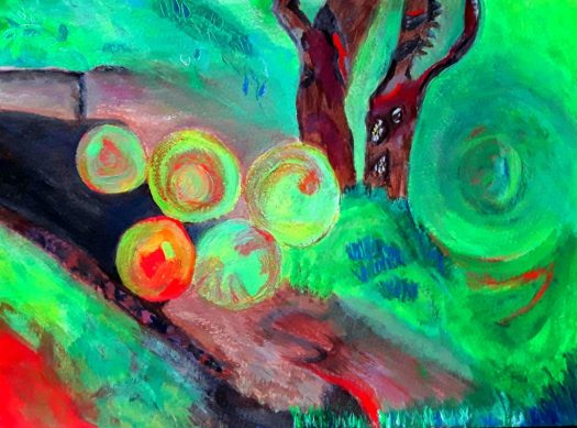 A semi-abstract acrylic painting in red and green showing apples falling from the tree at harvest time.