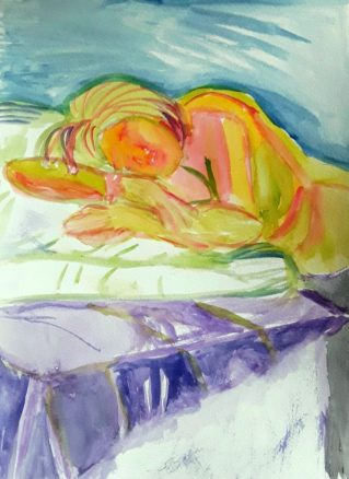 A semi abstract painting of a girl sleeping , painted from life . An example of experimental work on my artistic journey .