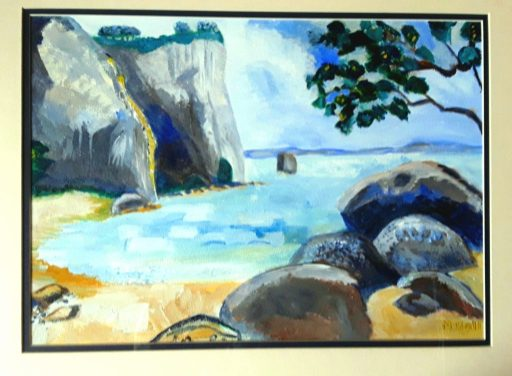 A view across the bay , rocks , sand and cliffs.  In my Gallery- Landscapes .