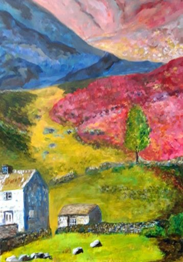A moorland scene with stone cottage in bright saturated colours. A World of Colour- my work on display in my first solo exhibition