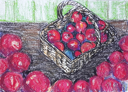 Oil pastel painting - red apples in a woven basket on wooden floorboards -part of my art cafe exhibition.