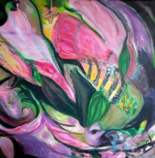 Swirling shapes in pink green and yellow - a lush jungle paradise. Part one of the triptych of acrylic paintings.