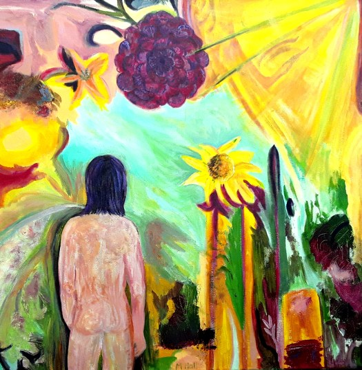 We see the back of a naked figure standing in a lush forest  , looking out towards a beautiful green light in the distance - in acrylic . Is this the light at the end of the tunnel ?