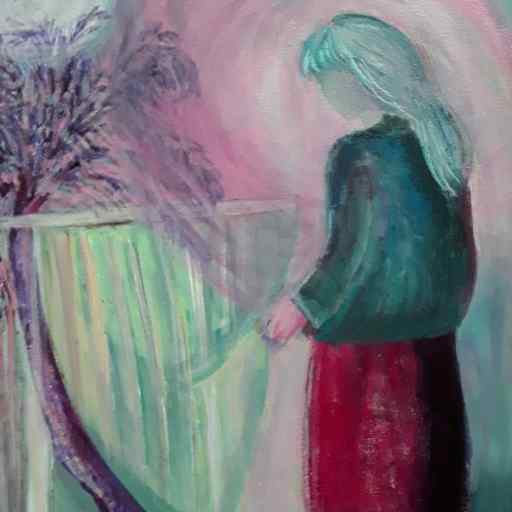 Abstract composition in pink and Green, a woman staring out through her window. Atmosphere all dreamy and mysterious.