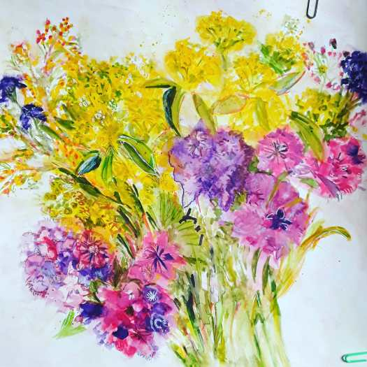 A painting of a bunch of flowers ina loose watercolour style  - purple  , pink  and golden yellow