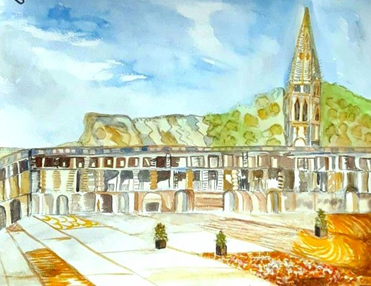 A watercolour sketch of the impressive Piece Hall in one of my online exhibitions.  The golden sandstone glows on a sunny day .