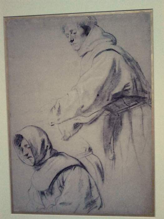 A beautiful charcoal drawing of two friars by Van Dyck. A thinking about drawing example.