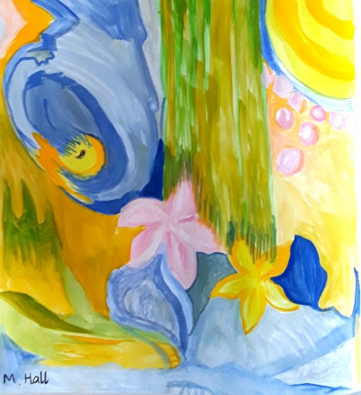 A bright , cheerful abstract gouache painting. My Covid art journal page.