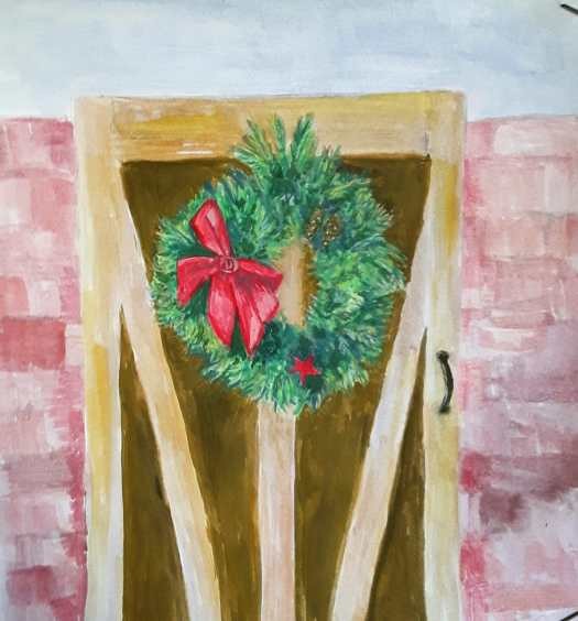 A gouache painting, showing a Christmas wreath , natural style. Hanging on a garden gate