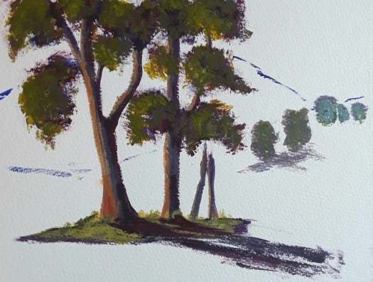 A study of eucalyptus trees in full summer leaf , as later painted in my The Quiet Stream picture.