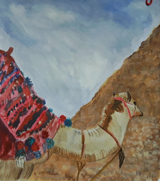 A Camel waiting for tourists in the Egyptian desert, next to a pyramid. In gouache.