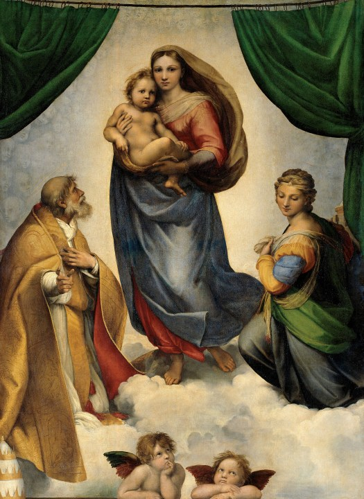 Raphael's Sistine Madonna, a superb painting showing Mary and Jesus, two saints and the two adorable cherubs at the bottom of the picture.