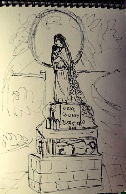 A quick pen sketch of Graham Ibberson's memorial statue.