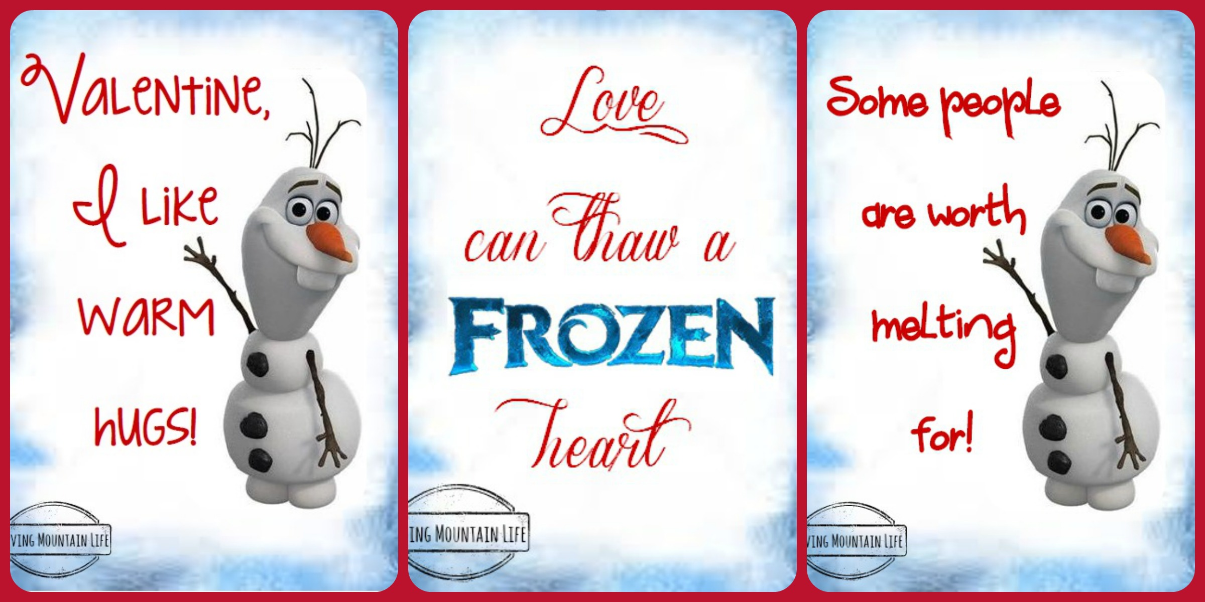 frozen valentines free printables loving mountain life