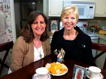 Karen Edmisten and Donna Marie Cooper O'Boyle on the Catholic Mom's Cafe set