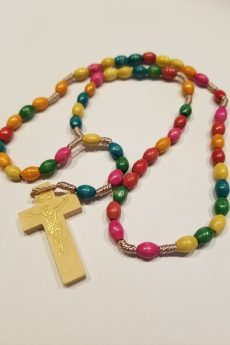 Multicolored Wood Cord Rosary