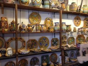 Ceramic shop in Caltagirone, Sicily photo by Margie Miklas