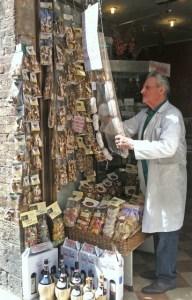 Shop owner San Gimignano Photo by Margie Miklas