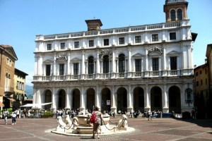 Bergamo Piazza Vecchia with Fountain