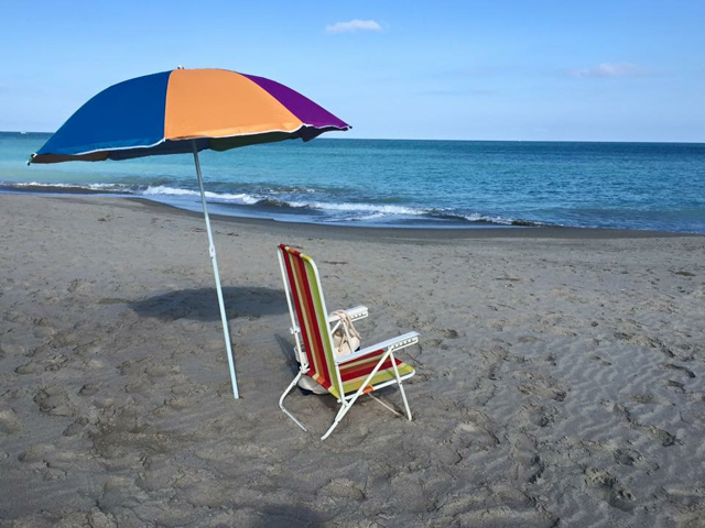 Hutchinson Island beach umbrella photo by Margie Miklas