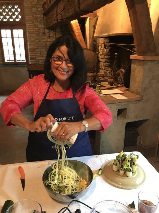Making zucchini pasta at Palazzo Donati photo by Margie Miklas