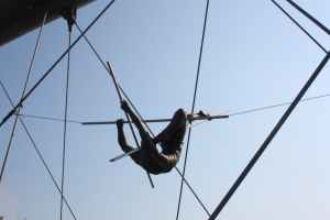person at a trapeze