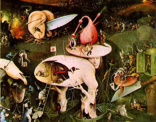 """Detail from the right (""""Hell"""") panel of Hieronymous Bosch's """"The Garden of Earthly Delights"""" c. 1500"""