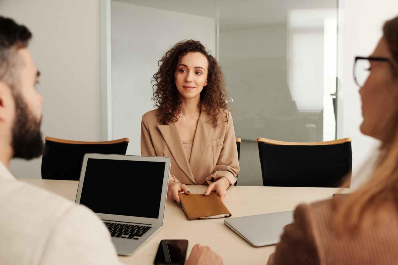 man woman laptop office