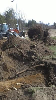 Die ausgehobene Grube für das Holzmaterial, das in das Hügelbeet kommt