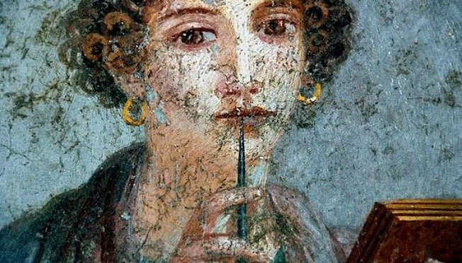 Fresco of literate first century woman, Pompeii