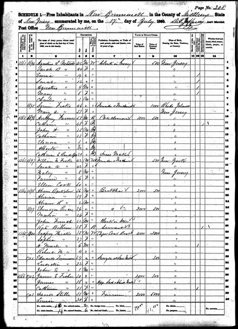 1870 census john farmer family new brunswick nj