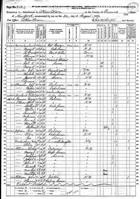 Elisha Peterson & John Peterson 1870 census