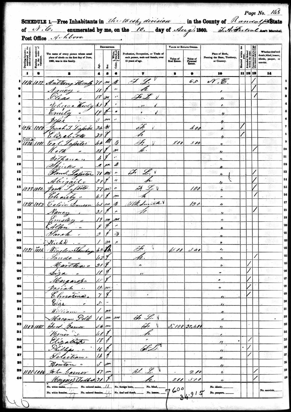 Nancy Dunson 1860 census