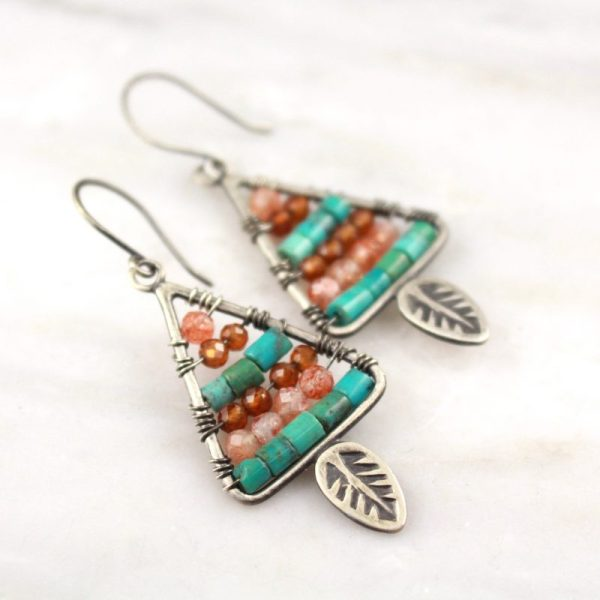 Leaf Triangle with Turquoise and Sunstone Earrings Sarah Deangelo