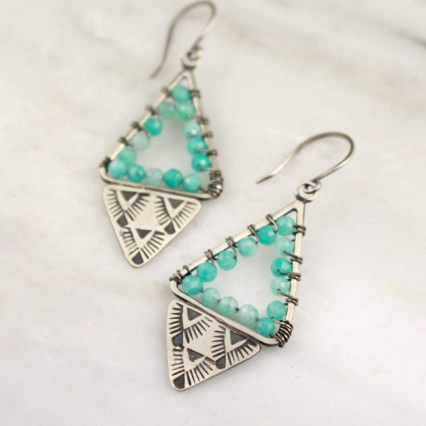Navajo Triangle Wrapped Amazonite Earrings by Sarah DeAngelo
