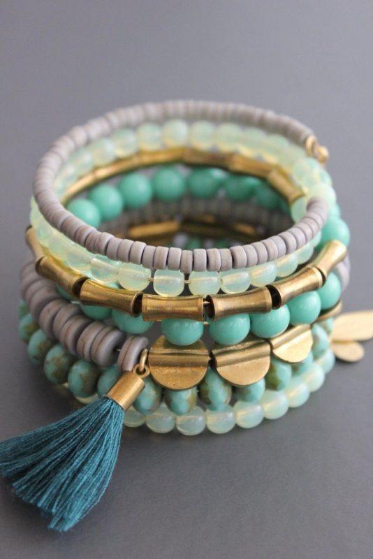turquoise gold beaded Wrap Bracelet by David Aubrey
