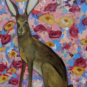 Hare with Flowers painting by Kelsey McDonnell