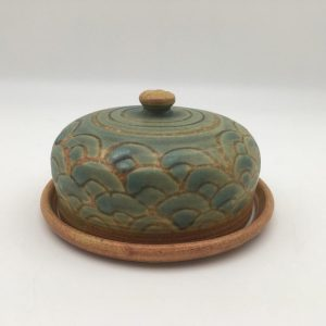 Green Porcelain Butter Dish by Margo Brown - 1121