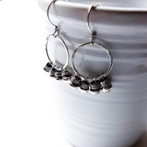 Sterling Silver Boho Fringed Circle Clasp Earrings by - Andewyn Moon